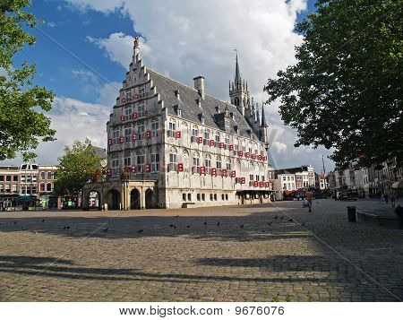 Gouda 15Th Century City Town Hall In Summer Time.