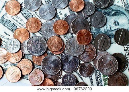 Piles of U.S. dollars.