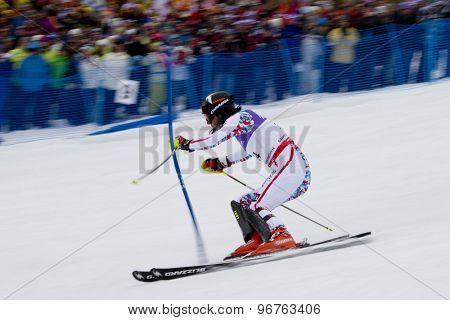 GARMISCH PARTENKIRCHEN, GERMANY. Feb 19 2011: Mario Matt (AUT)  competing in the mens  slalom race , at the 2011 Alpine skiing World Championships