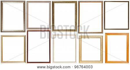 Set Of 10 Pcs Vertical Wooden Picture Frames