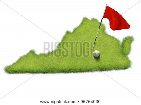 Golf ball and flag pole on course putting green shaped like the state of Virginia