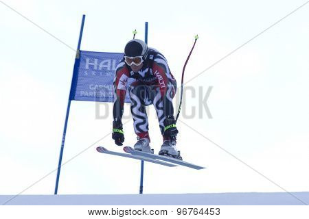 GARMISCH PARTENKIRCHEN, GERMANY. Feb 14 2011: Georgi Georgiev (BUL) takes to the air competing in the men's downhill at the 2011 Alpine skiing World Championships