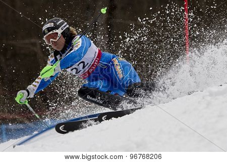 GARMISCH PARTENKIRCHEN, GERMANY. Feb 11 2011: Anja Paerson (SWE) competing in the women's slalom at the 2011 Alpine skiing World Championships.