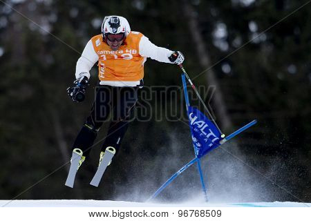 GARMISCH PARTENKIRCHEN, GERMANY. Feb 10 2011:  TV Camera man and former World Cup race winner Kristian Ghedina at the first men's downhill training at the 2011 Alpine skiing World Championships