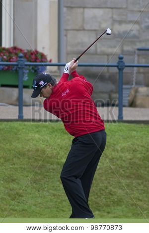 ST ANDREWS, SCOTLAND. July 15 2010: Paul LAWRIE from Scotland playing the first shot of The Open Championship   played on The Royal and Ancient Old Course