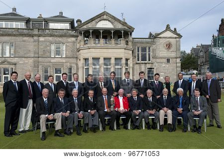 ST ANDREWS, SCOTLAND. July 13 2010 A photocall of all past winners of the tournament outside the Royal and Ancient Clubhouse prior to The Open Championship   played on The Royal and Ancient Old Course
