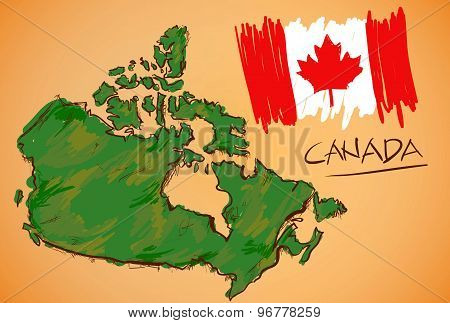 Canada Map And National Flag Vector