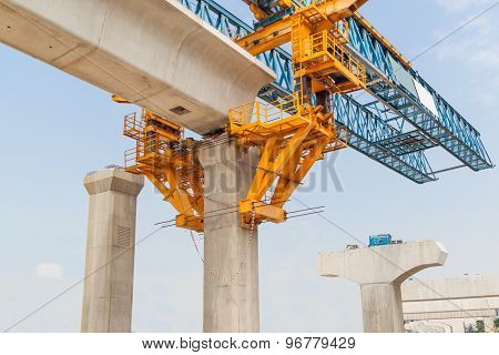Construction of a mass rail transit train infrastructure in progress