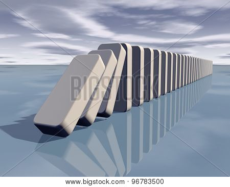 Influence Abstract Concept With Falling Dominoes