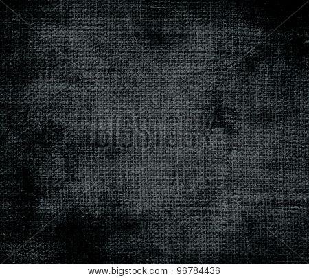 Grunge background of dark gunmetal burlap texture