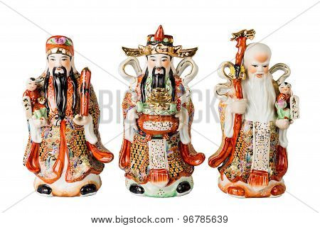 Chinese God of Fortune, Prosperity and Longevity figurine poster