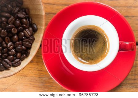 Fresh Brewed Hot Espresso In Red Cup