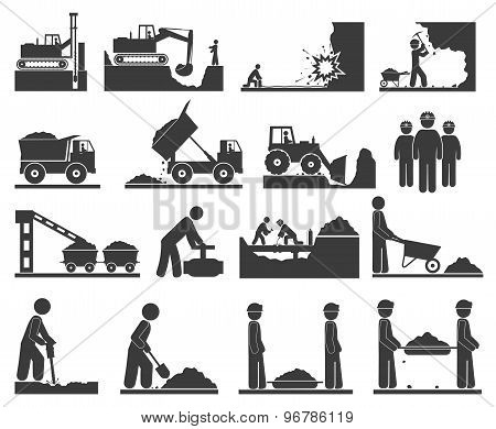 ?onstruction Earthworks Icons Mining And Quarrying Coal, Oil, Gold, Repair Of Pipelines