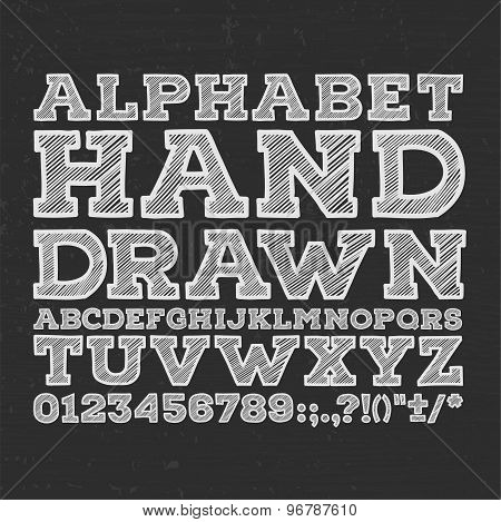 chalk sketched striped alphabet abc vector font. Type letters, numbers, characters and punctuation m