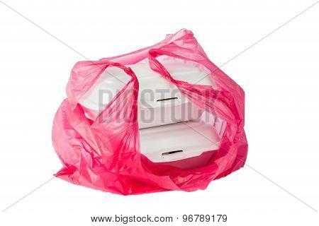 Environmental unfriendly Styrofoam Lunch Boxes and plastic bag