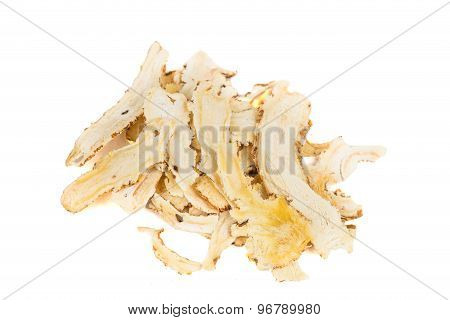 Sliced Angelica Sinensis or Dang Gui. A herbal blood tonic.