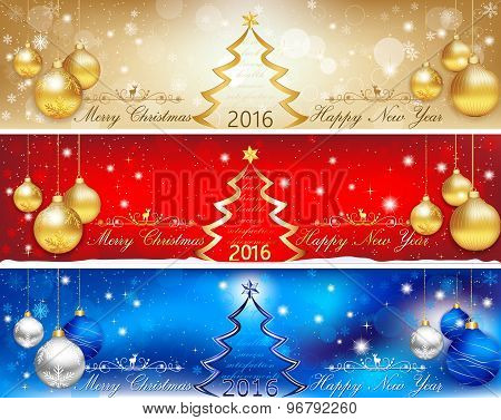 Banner set for Christmas and New Year, 2016