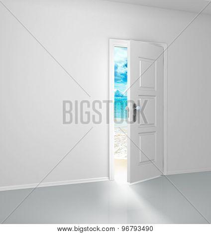 Grey Wall With Opened Door