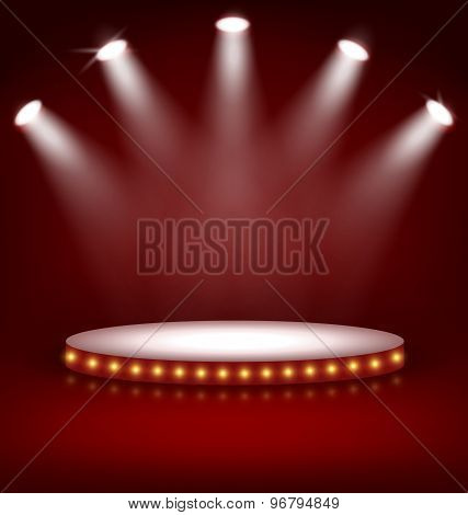 Illuminated Festive Stage Podium With Lamps On Red