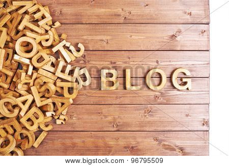 Word blog made with wooden letters