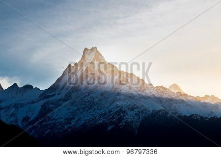 Sunrise from East of Mount Machapuchare as viewed from Tadapani, Nepal poster