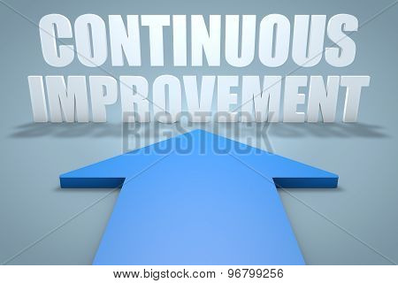 Continuous Improvement - 3d render concept of blue arrow pointing to text. poster