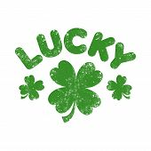 A vector graphic of four leaf clovers under the word Lucky poster