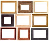 set of 9 pcs wide wooden picture frames with cut out blank space isolated on white background poster