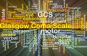 Background concept wordcloud illustration of Glasgow coma scale GCS glowing light poster