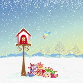 Christmas greeting robin birds and colorful present poster