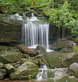 Waterfall On Rainbow Falls Trail, Great Smoky Mountains National Park