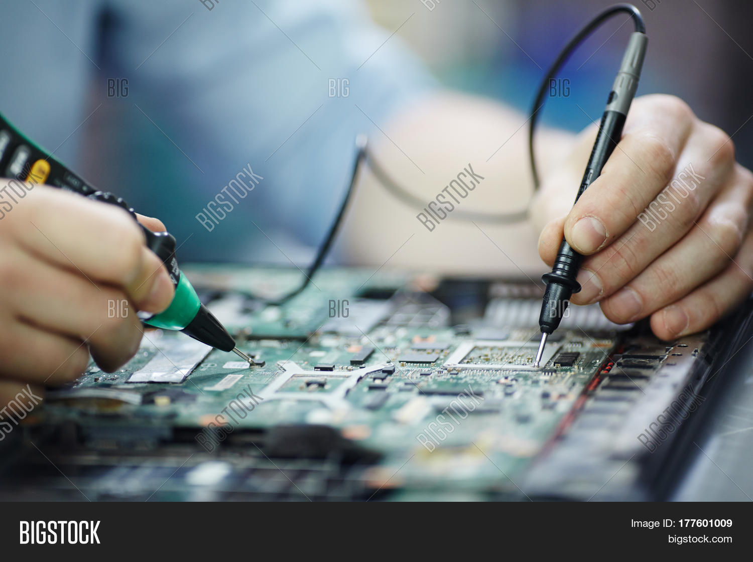 Closeup Shot Male Image Photo Free Trial Bigstock Circuitboardtablejpg Of Hands Testing Electric Current Voltage In Circuit Board Disassembled Laptop Using