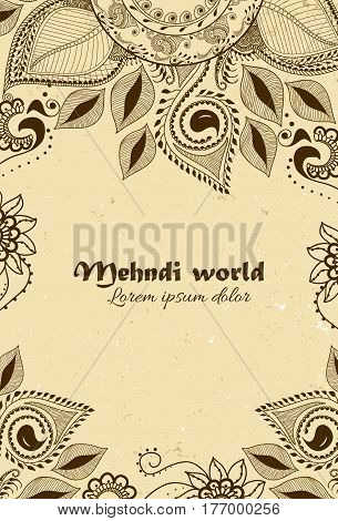 Vector background in indian ornamental style. Mehndi floral ornament. Hand drawn ethnic pattern. Henna tattoo theme. Template for business card with place for text