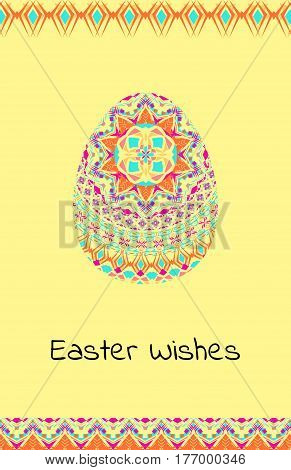 Vector Happy Easter background with easter egg, mandalas pattern and tribal geometric borders. Ethnic theme. Native American Indian ornaments