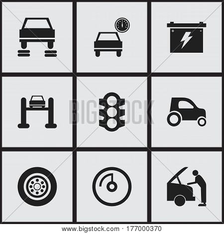 Set Of 9 Editable Car Icons. Includes Symbols Such As Stoplight, Tire, Speed Display And More. Can Be Used For Web, Mobile, UI And Infographic Design.