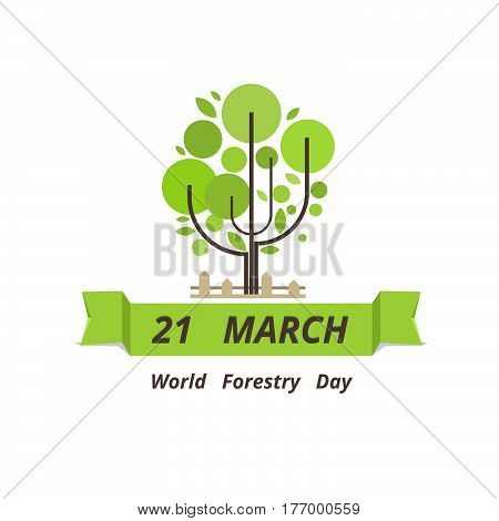Forestry Day Logo Design. 21St March.  Vector Illustration.