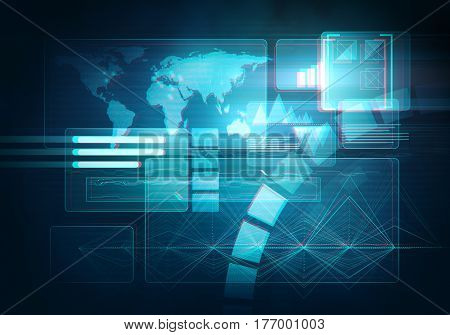 Abstract digital image technology interface concept witn circuit microchip background. Virtual 3d stereo effect.