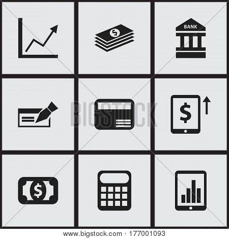 Set Of 9 Editable Banking Icons. Includes Symbols Such As Salary, Computation Machine, Money Card And More. Can Be Used For Web, Mobile, UI And Infographic Design.