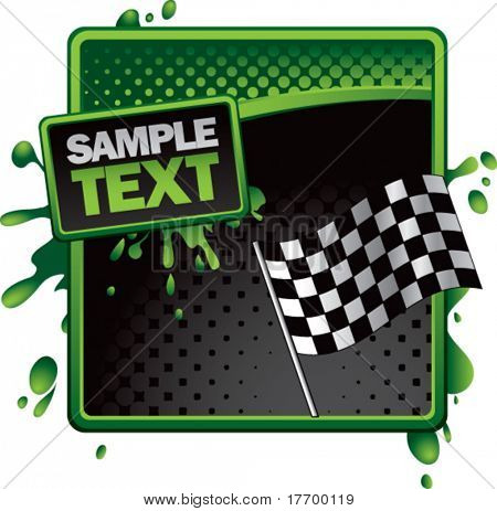 racing checkered flag on grungy splattered background