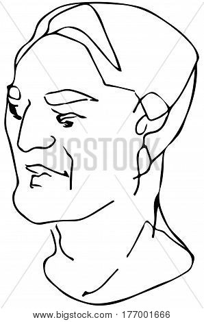 Vector Sketch Of The Face Of An Adult Male