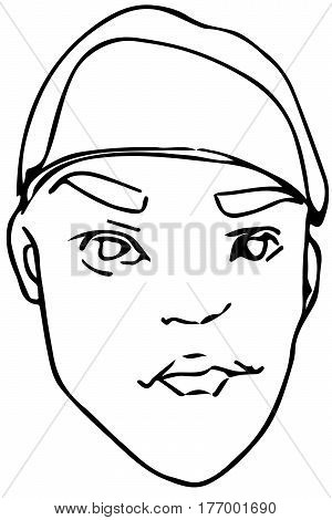 Vector Sketch Of A Young Man In A Beret