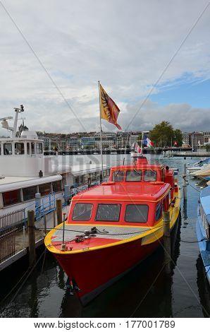 GENEVA, SWITZERLAND - SEPTEMBER 16: Boats at Geneva Lake on September 16, 2016. Geneva is the second biggest city in Switzerland