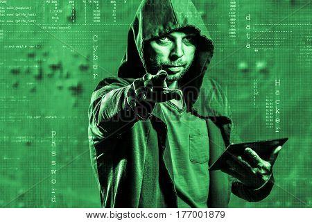 Internet Crime Concept. Dangerous Hacker, In Hoodie Shirt And Dark Digital Background Around, Steali