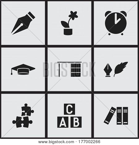 Set Of 9 Editable University Icons. Includes Symbols Such As Literature, Alarm, Bookshelf And More. Can Be Used For Web, Mobile, UI And Infographic Design.