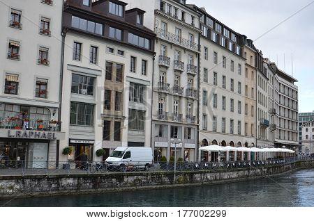 GENEVA, SWITZERLAND - SEPTEMBER 16: cityscape of Geneva on September 16, 2016. Geneva is the second biggest city in Switzerland