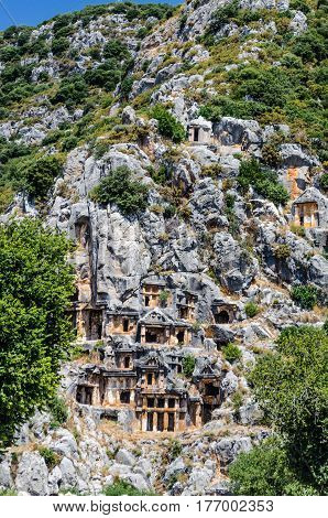 Tombs of ancient Lycians, created from soft limestone rocks. Southern Turkey, near the ancient city of Myra. summer 2014