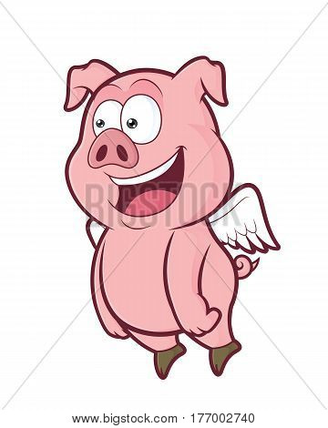 Clipart picture of a flying pig cartoon character