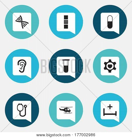 Set Of 9 Editable Hospital Icons. Includes Symbols Such As Heart, Drug, Wound Band. Can Be Used For Web, Mobile, UI And Infographic Design.