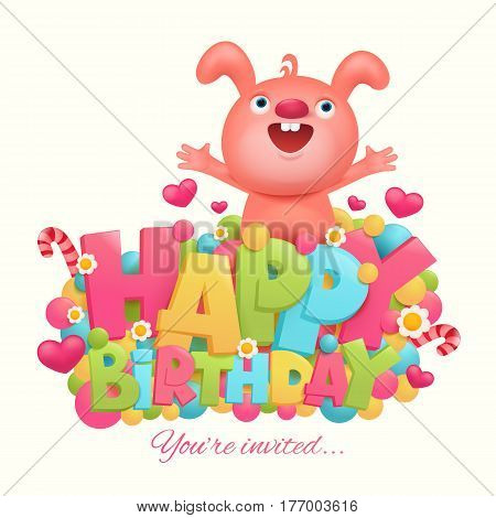 Happy birthday concept card title template with pink bunny. Vector illustration