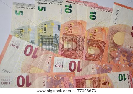 Five Euro bills, ten Euro notes, Money, cash, money euro banknotes